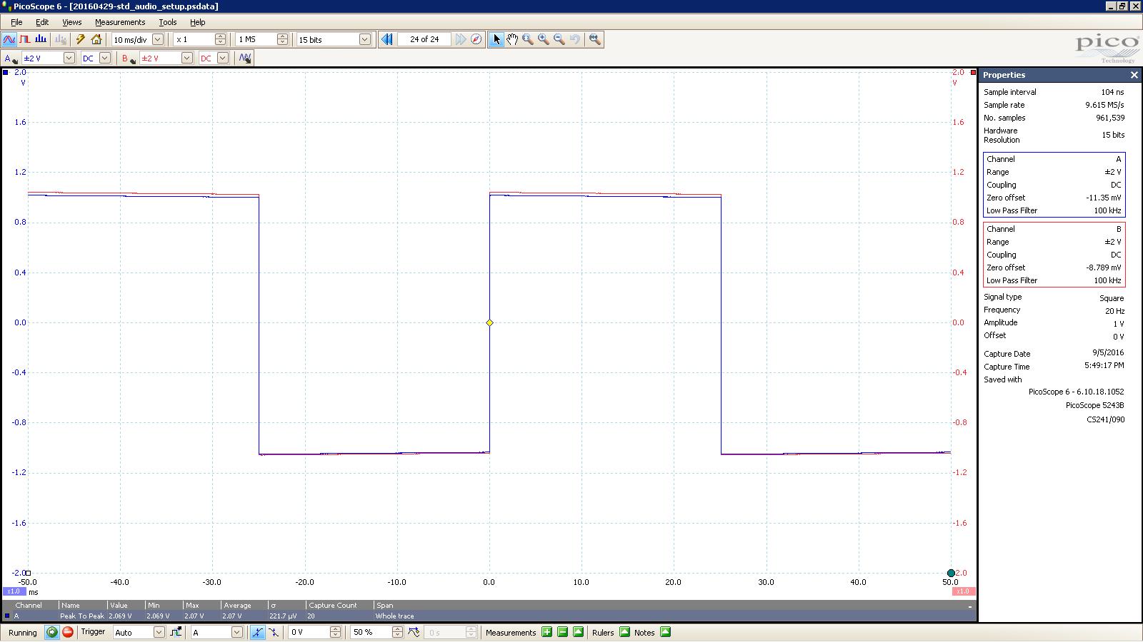 20160905 SigGen Jotunheim 20 Hz square 2000mVpp 10mS div 100KHz filter 30R unBalanced.PNG