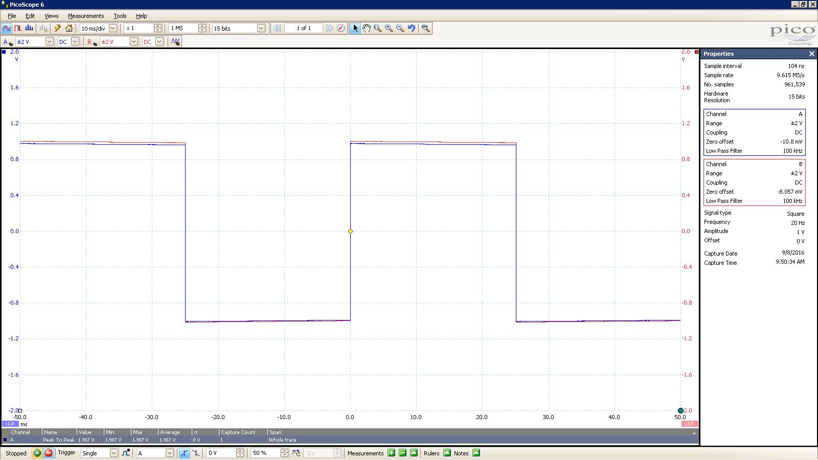 20160908 SigGen Jotunheim 20 Hz square 2000mVpp 10mS div 100KHz filter 30R Balanced.PNG