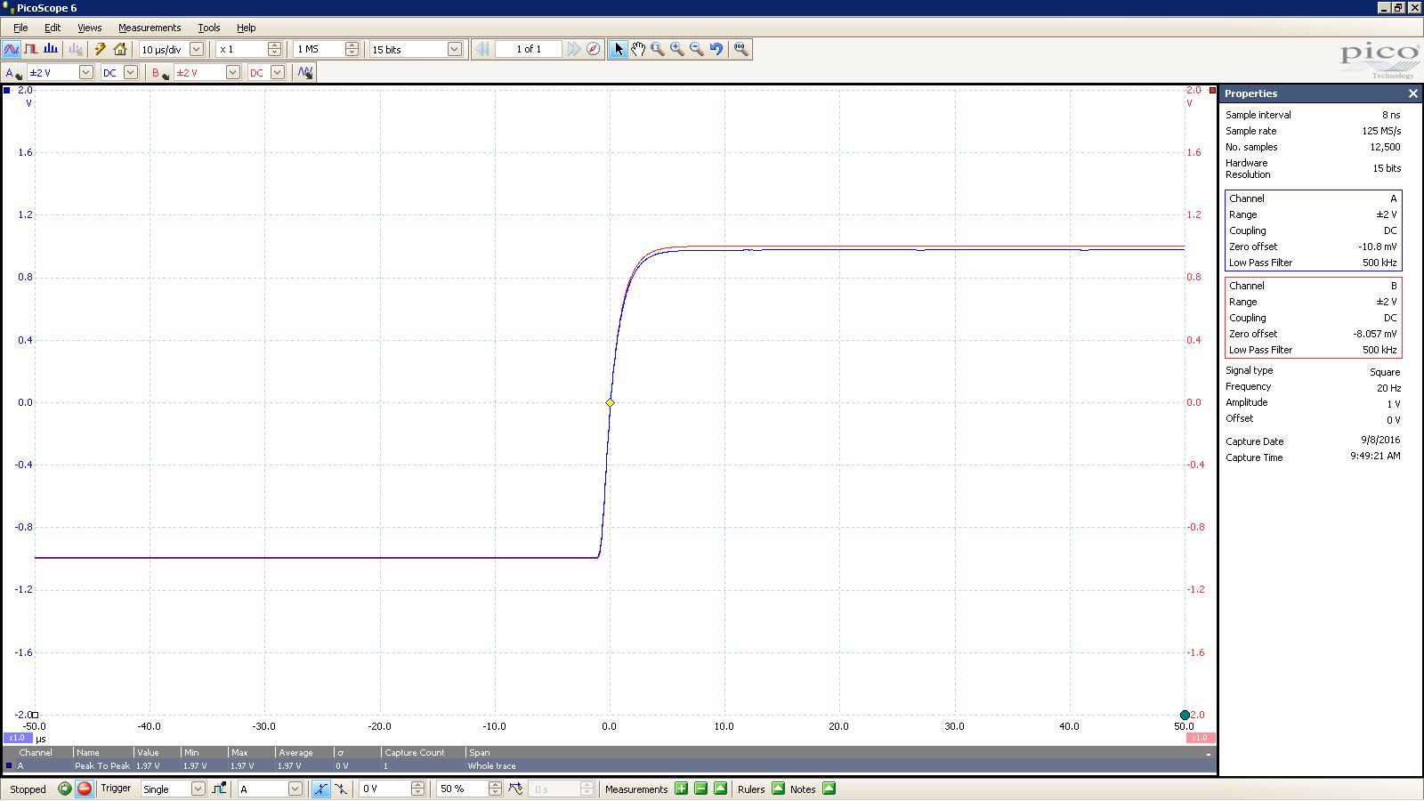 20160908 SigGen Jotunheim 20 Hz square 2000mVpp 10uS div 500KHz filter 30R Balanced.PNG
