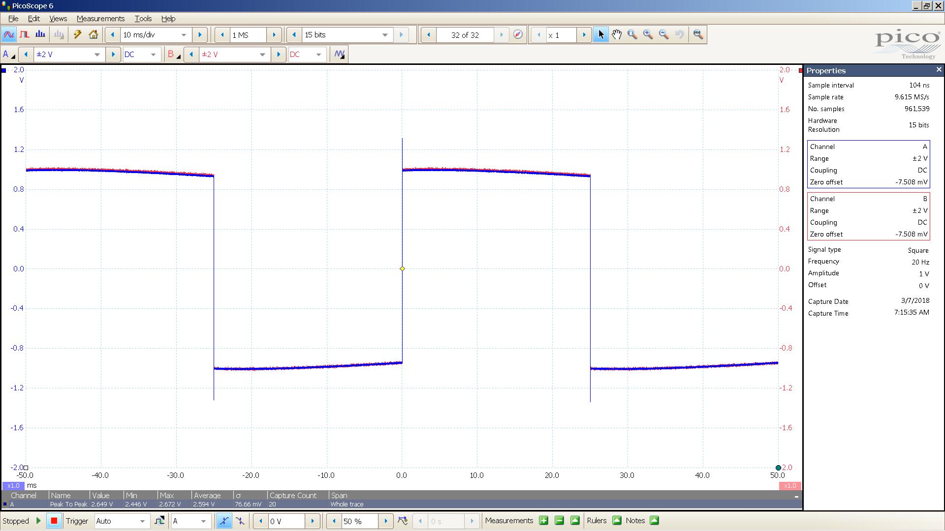20180307 SigGen mcth 20 Hz square 2000mVpp 10mS div 5MHz filter 30R.png