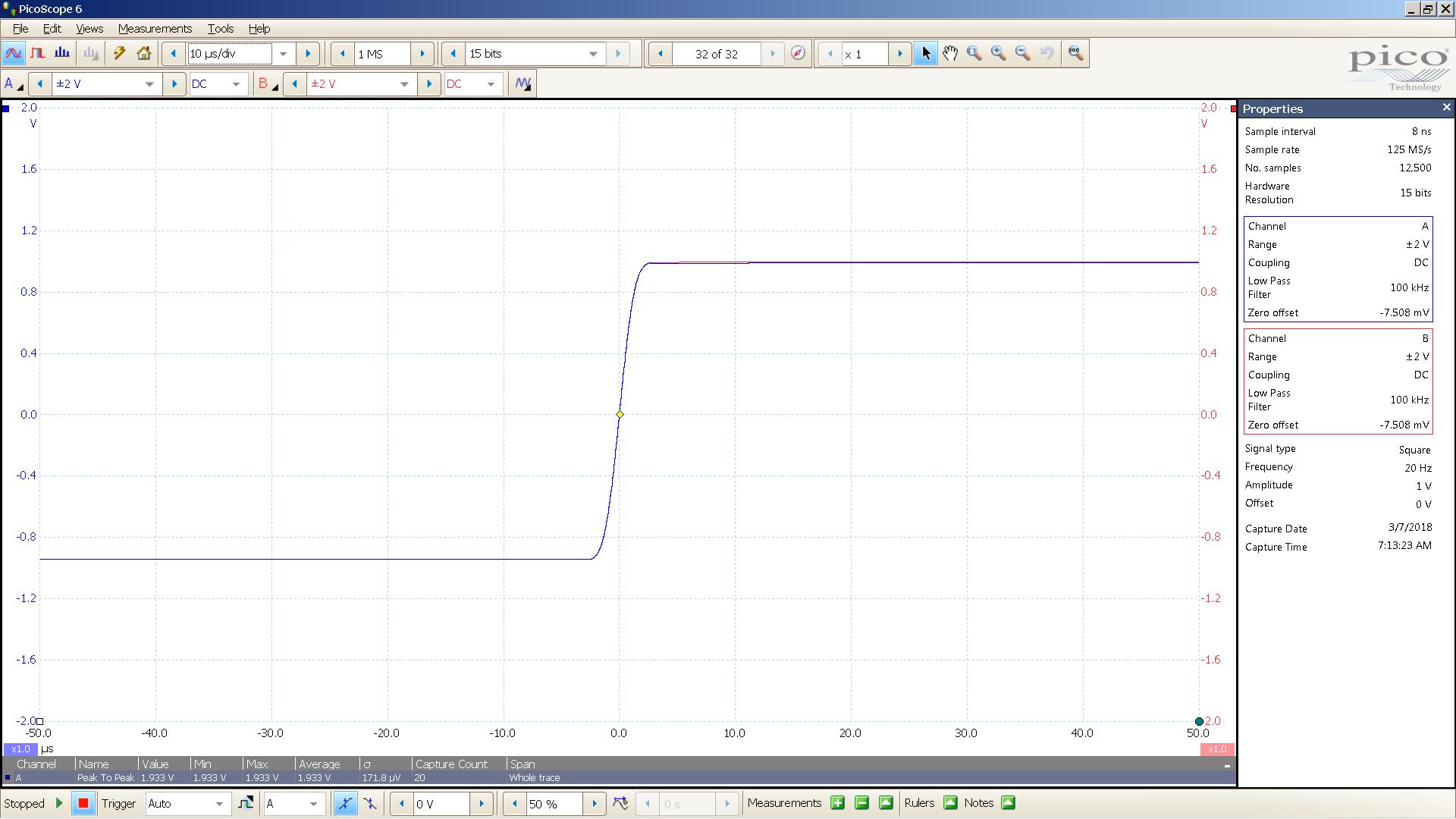 20180307 SigGen mcth 20 Hz square 2000mVpp 10uS div 100KHz filter 30R.png
