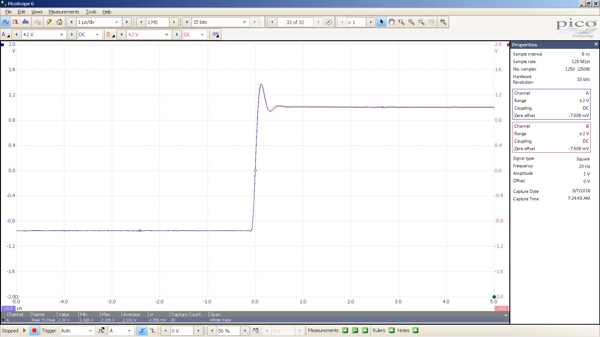 20180307 SigGen mcth 20 Hz square 2000mVpp 1uS div 10MHz filter 300R.png
