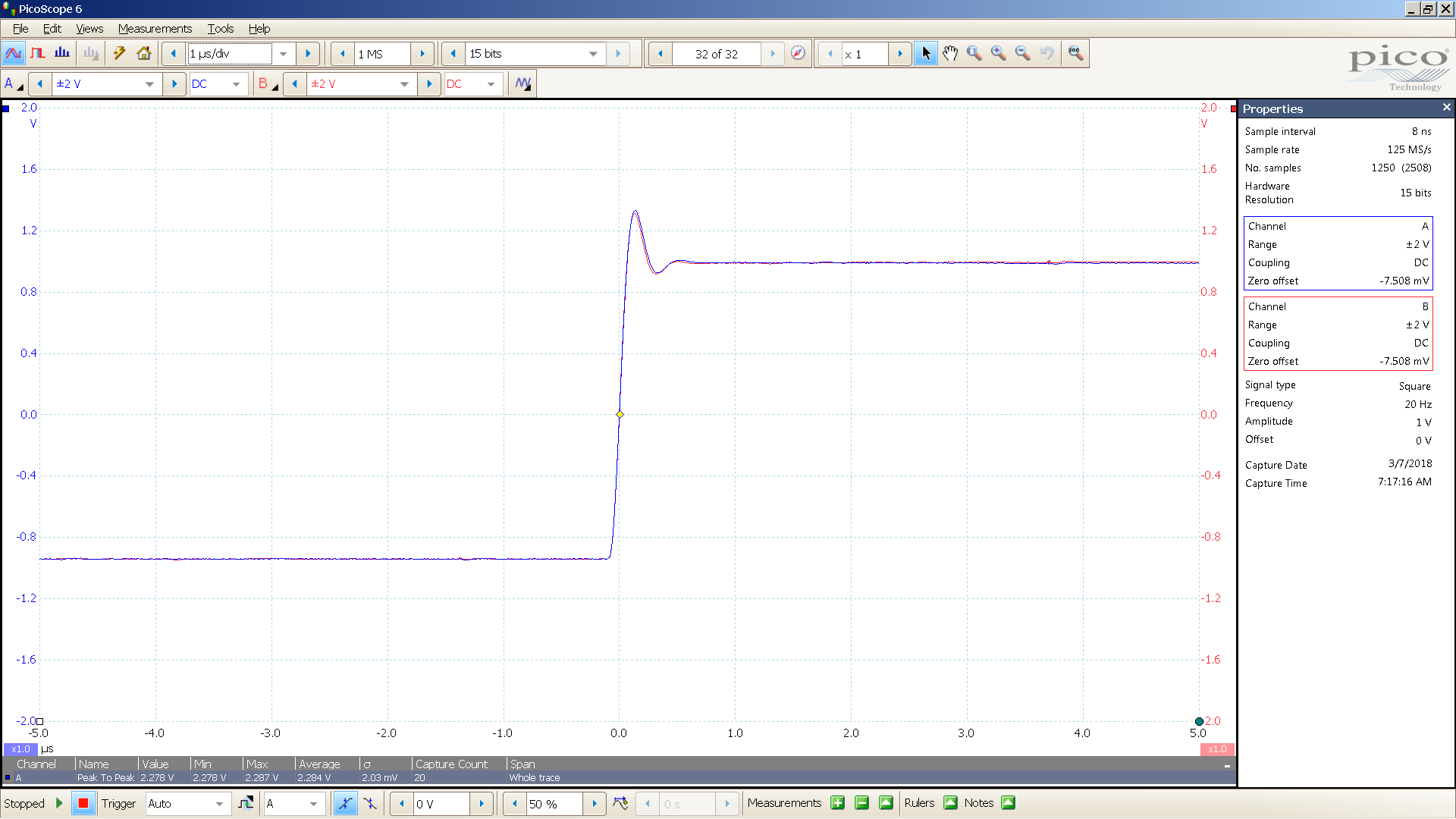 20180307 SigGen mcth 20 Hz square 2000mVpp 1uS div 10MHz filter 30R.png