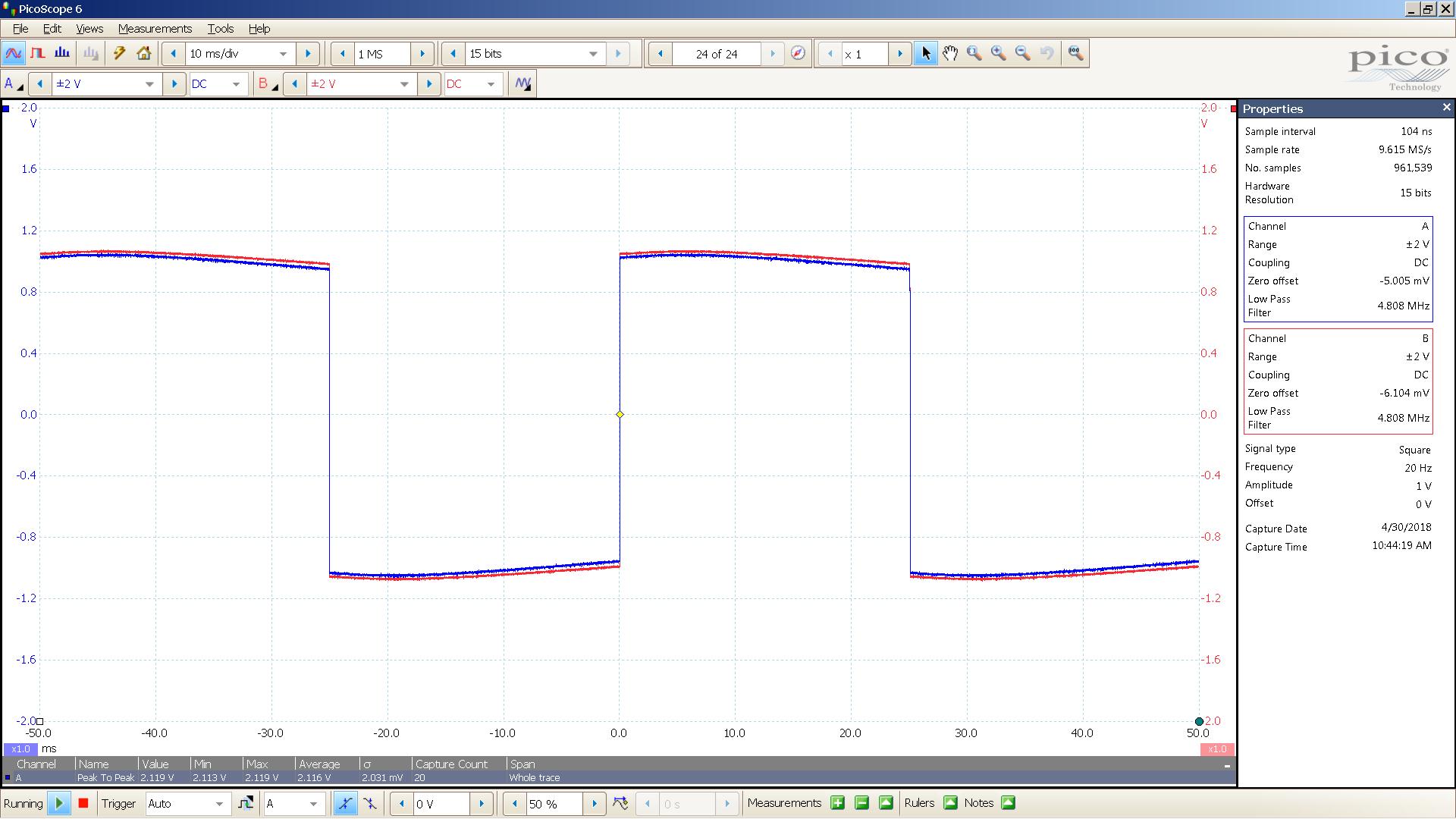 20180430 SigGen lyr3 20 Hz square 2000mVpp 10mS div 5MHz filter 30R.png