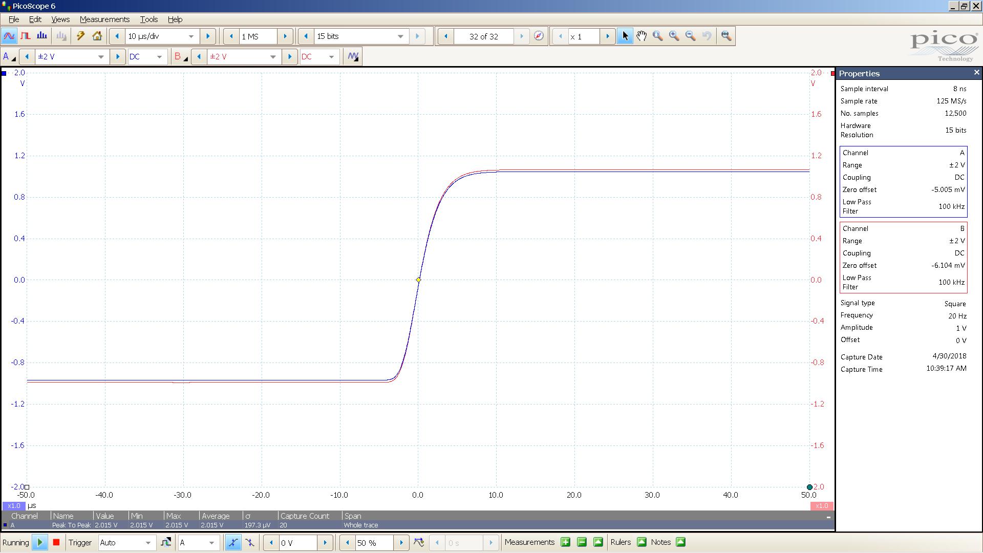 20180430 SigGen lyr3 20 Hz square 2000mVpp 10uS div 100KHz filter 300R.png