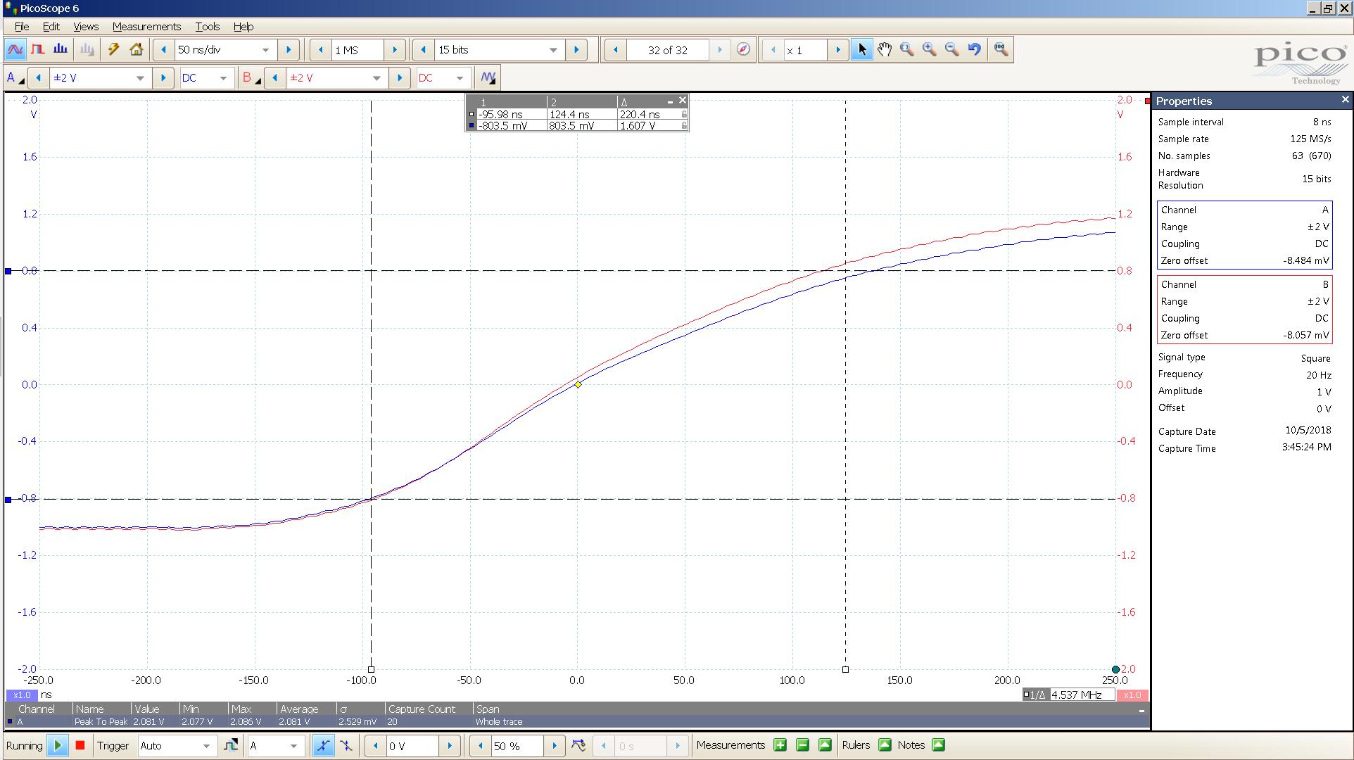 20181005 SigGen spark 20 Hz square 2000mVpp 1uS div 20MHz filter 30R - BW calc.png
