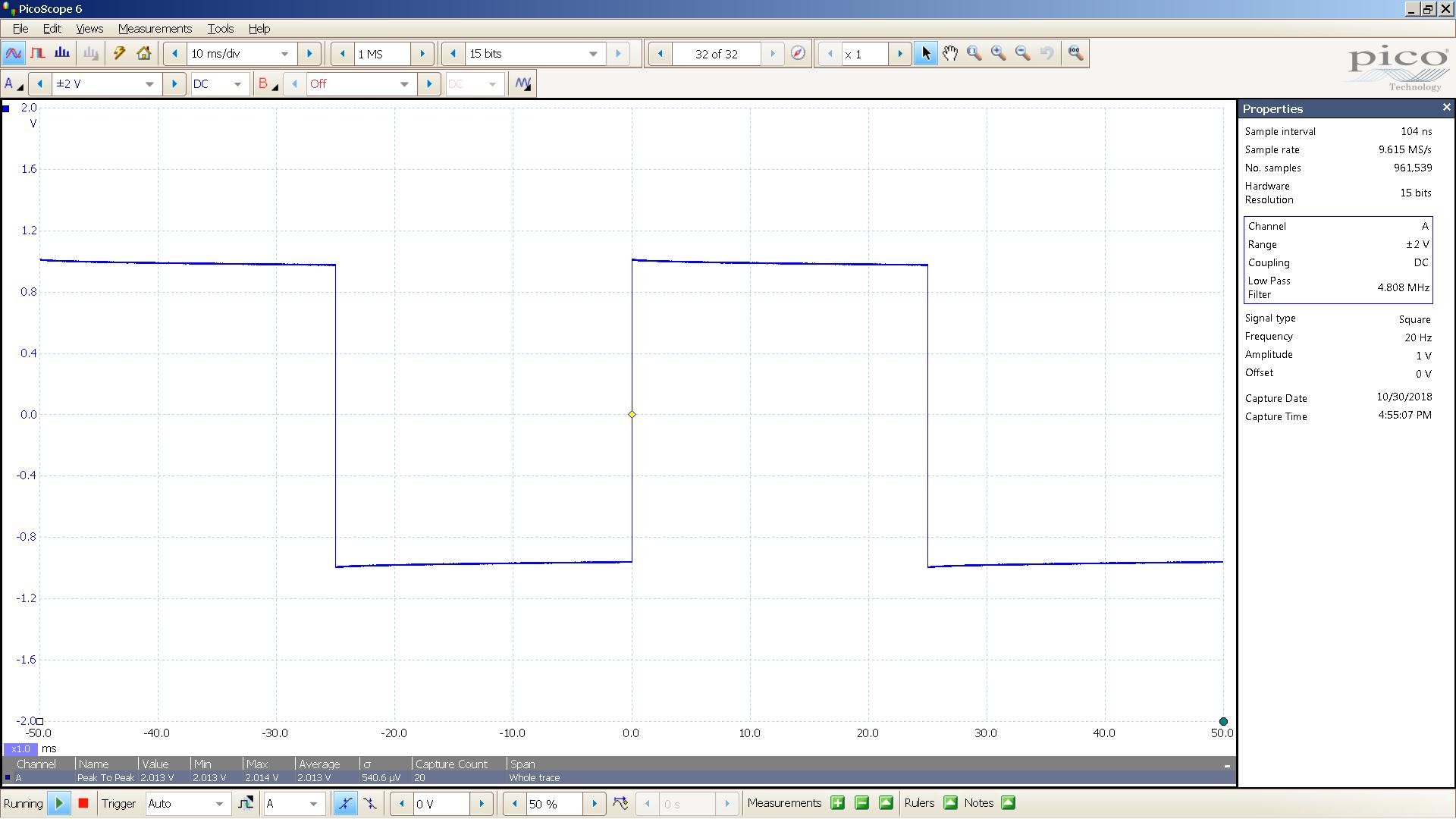 20181030 SigGen ISO Twin 20 Hz square 2000mVpp 10mS div 5MHz filter 10K.png