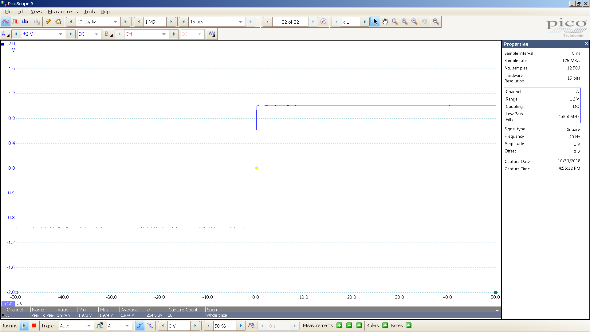 20181030 SigGen ISO Twin 20 Hz square 2000mVpp 10uS div 5MHz filter 10K.png