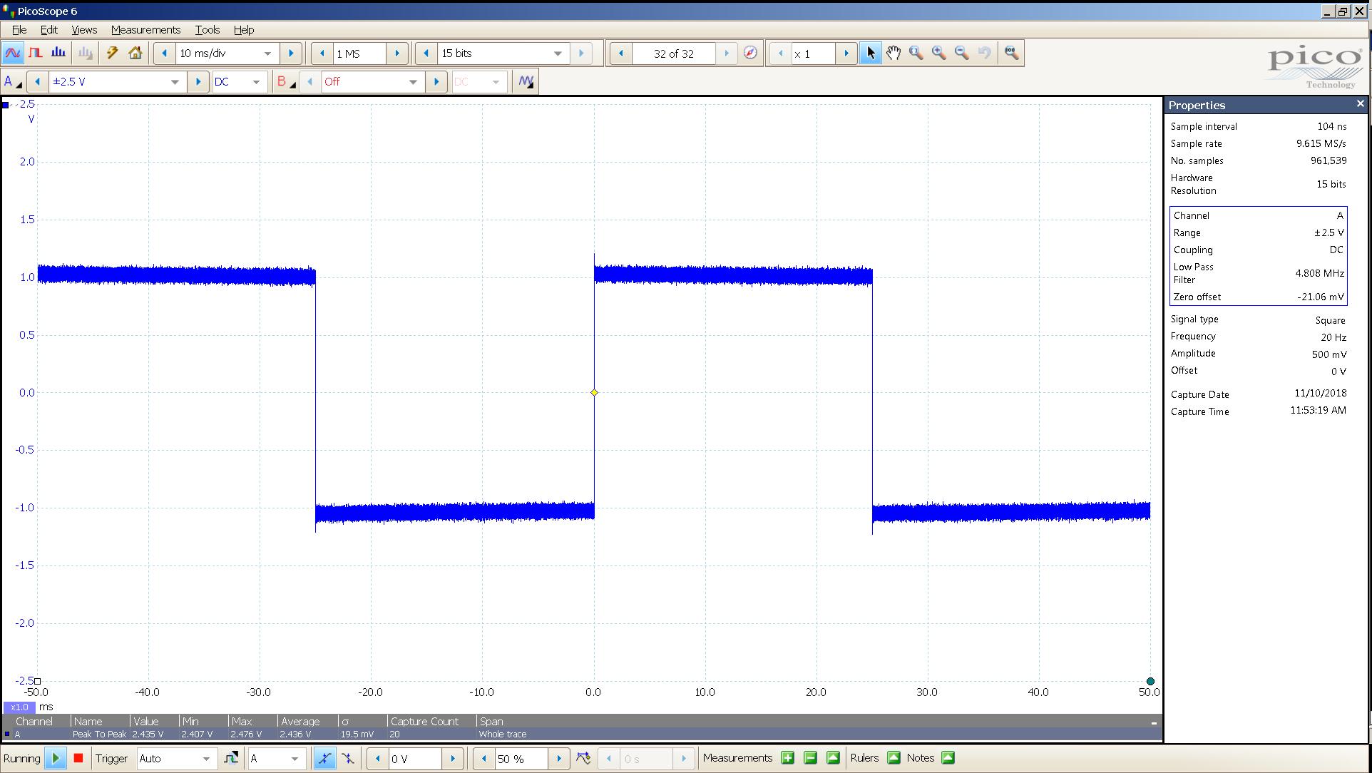 20181110 SigGen LiqPlat 20 Hz square 2000mVpp 10mS div 5MHz filter 300R.png