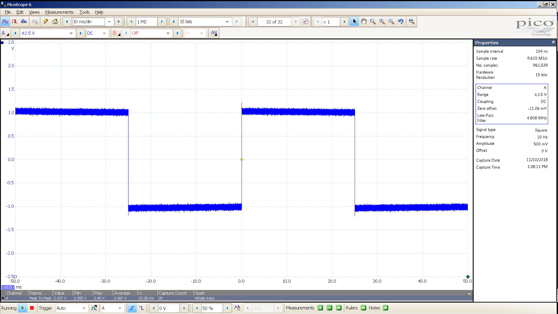 20181110 SigGen LiqPlat 20 Hz square 2000mVpp 10mS div 5MHz filter 30R.png