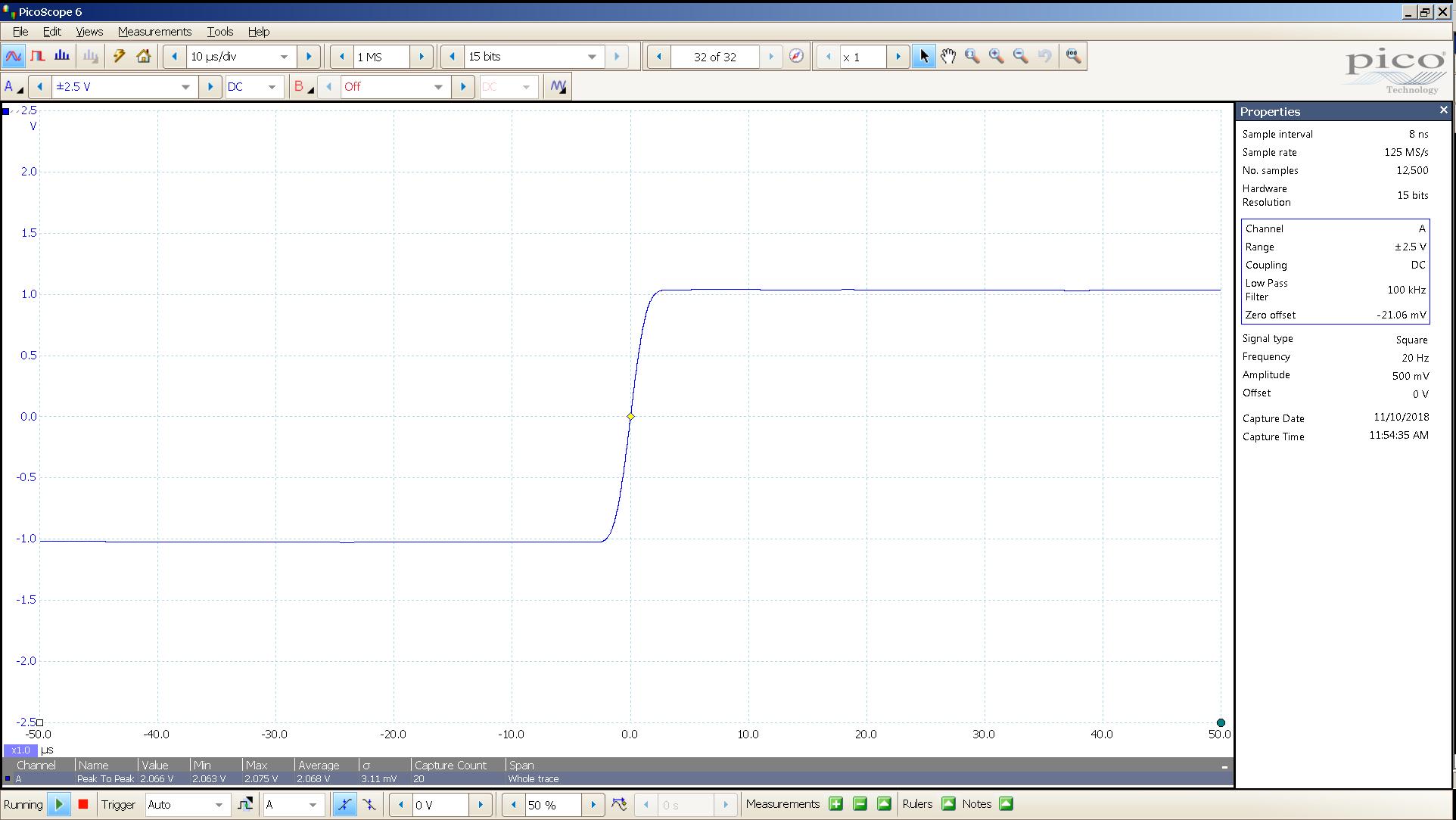 20181110 SigGen LiqPlat 20 Hz square 2000mVpp 10uS div 100KHz filter 300R.png