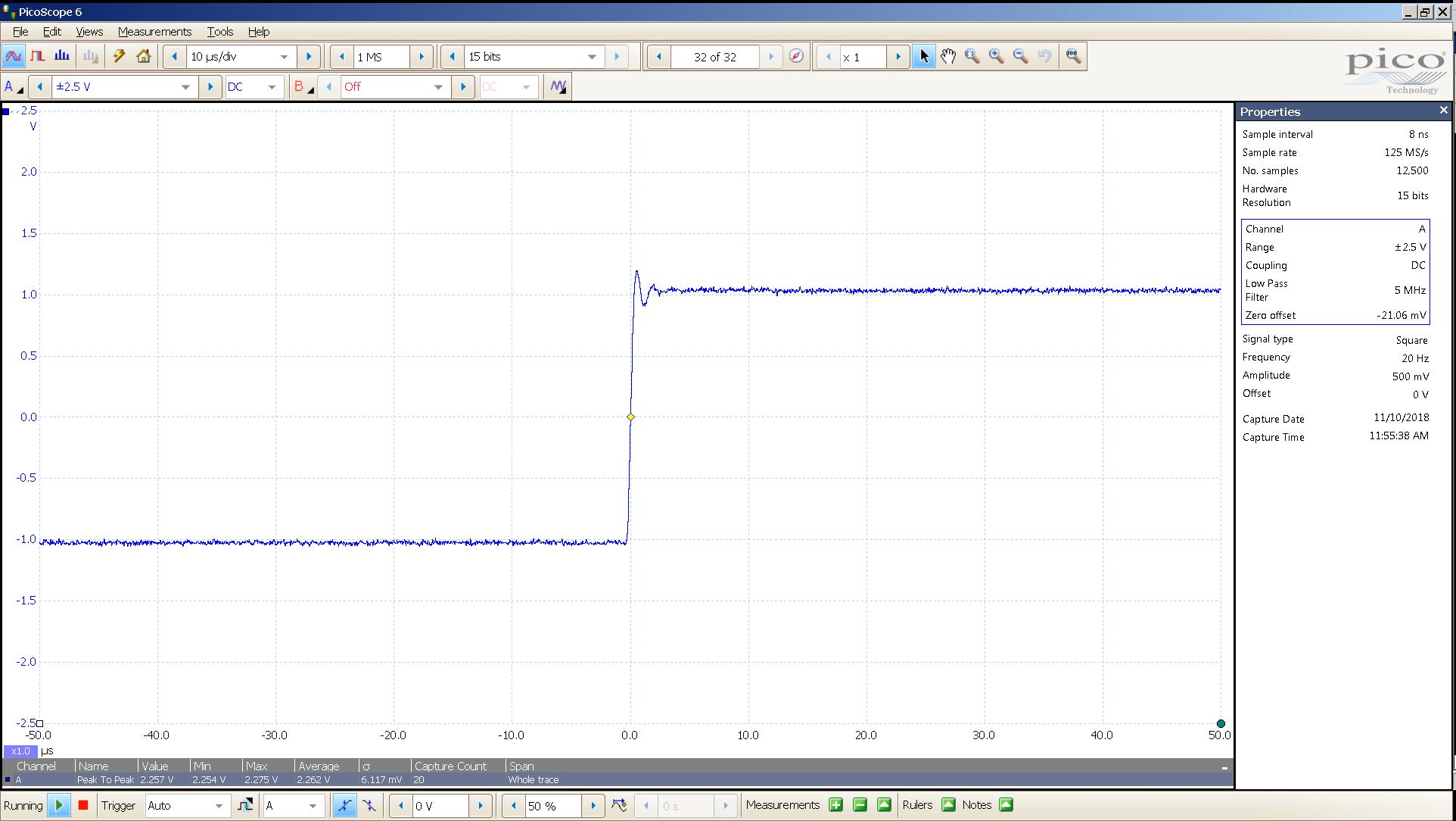 20181110 SigGen LiqPlat 20 Hz square 2000mVpp 10uS div 5MHz filter 300R.png