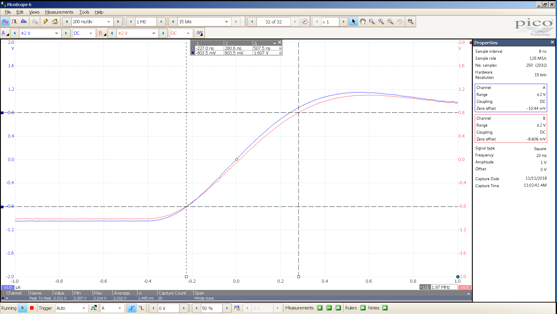 20181110 SigGen LiqPlat 20 Hz square 2000mVpp 200nS div 10MHz filter 300R - BW calc t2.png