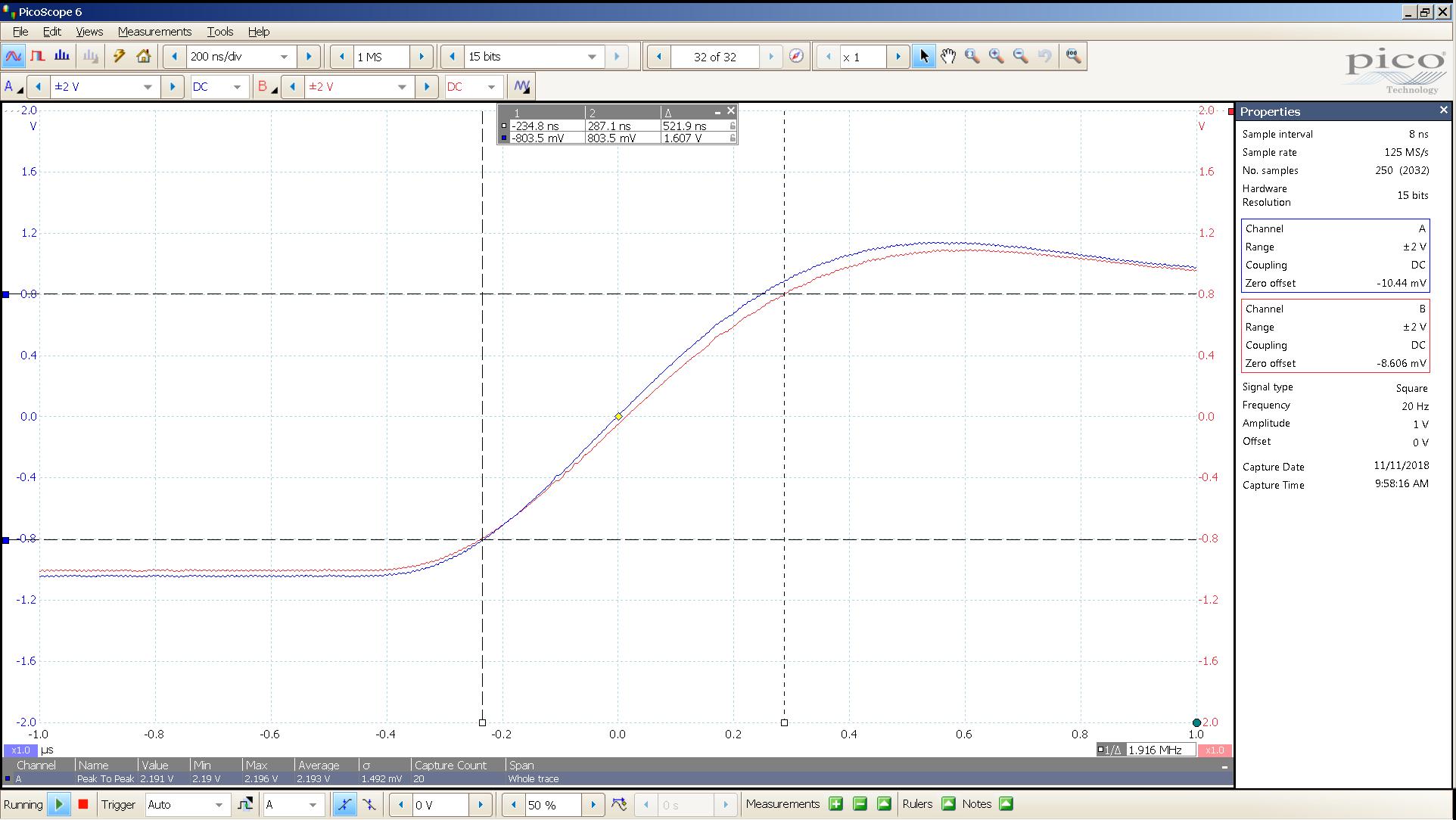 20181110 SigGen LiqPlat 20 Hz square 2000mVpp 200nS div 20MHz filter 30R - BW calc.png