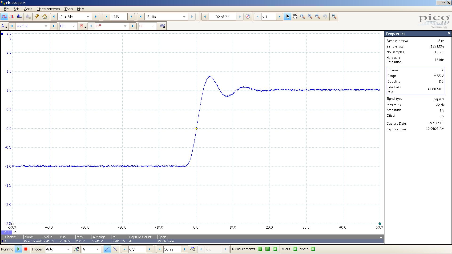 20190221 SigGen DSHA-3F 20 Hz square 2000mVpp 10uS div 5MHz filter 30R.png