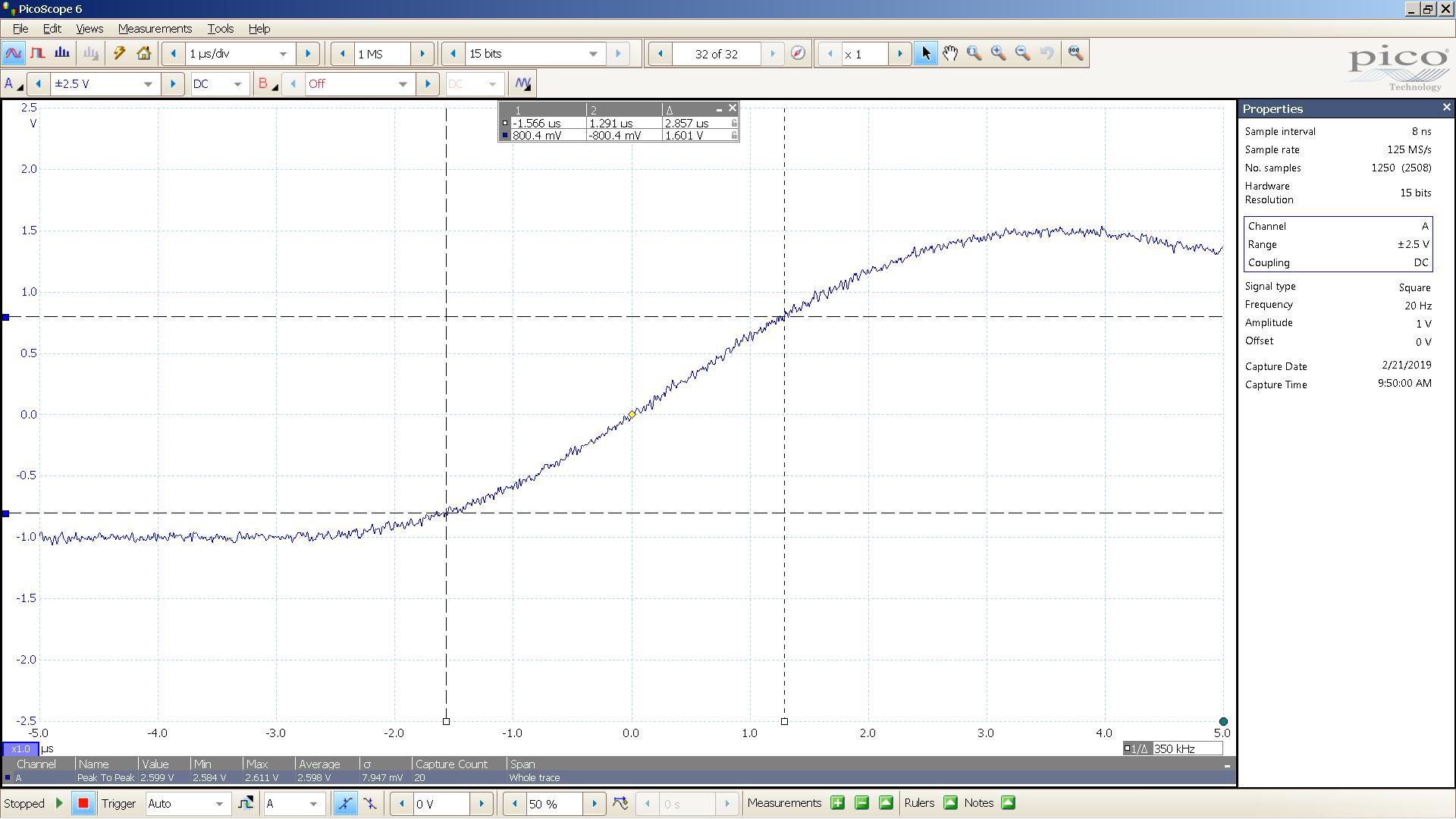 20190221 SigGen DSHA-3F 20 Hz square 2000mVpp 1uS div 5MHz filter 300R - BW calc.png