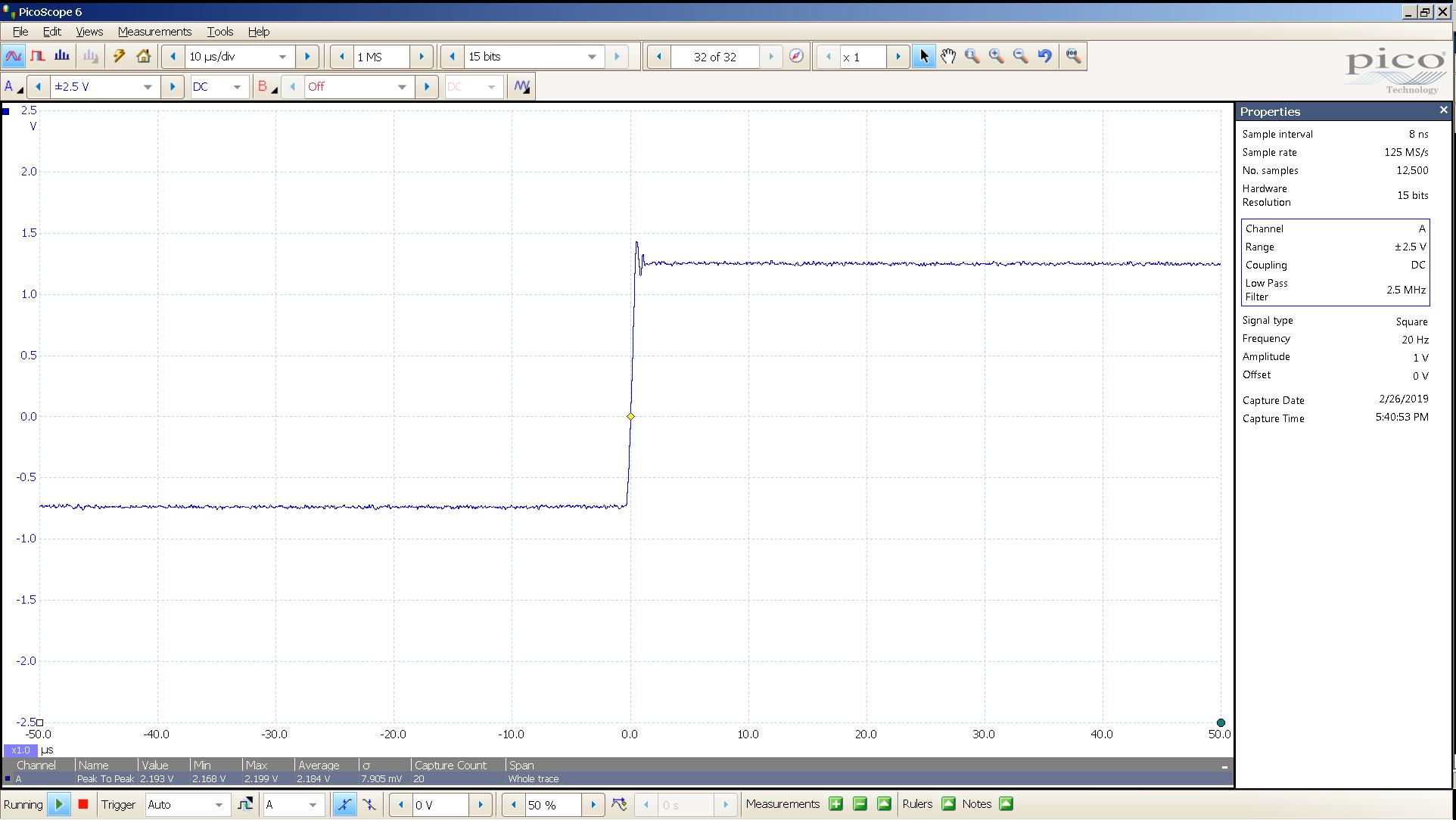 20190221 SigGen P20 20 Hz square 2000mVpp 10uS div 2_5MHz filter 30R.png
