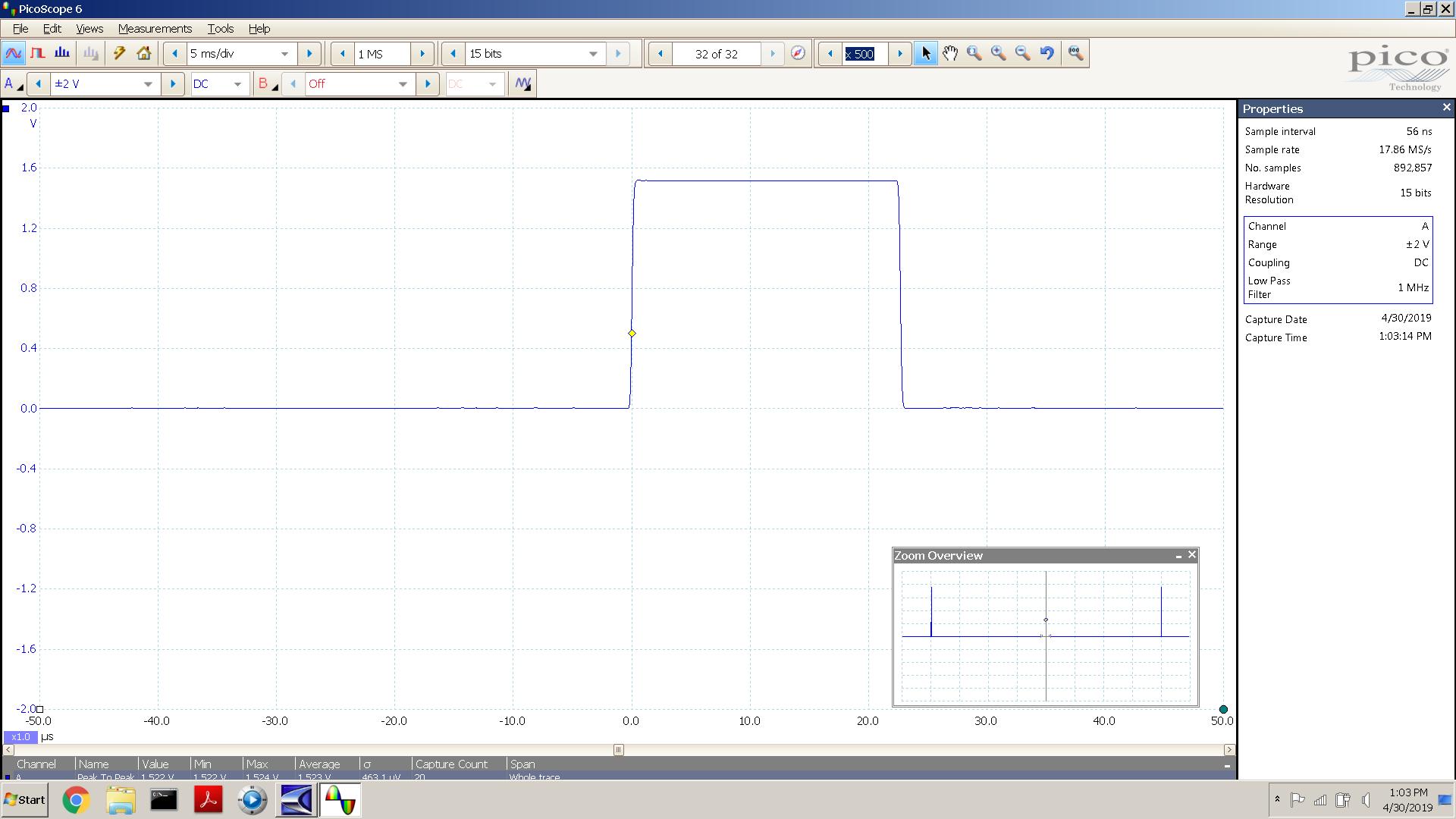 20190429-25 MOS24 SE 50 Hz pulse -3 dBFS 1500mVpk 5mS div - Opt 44K.PNG
