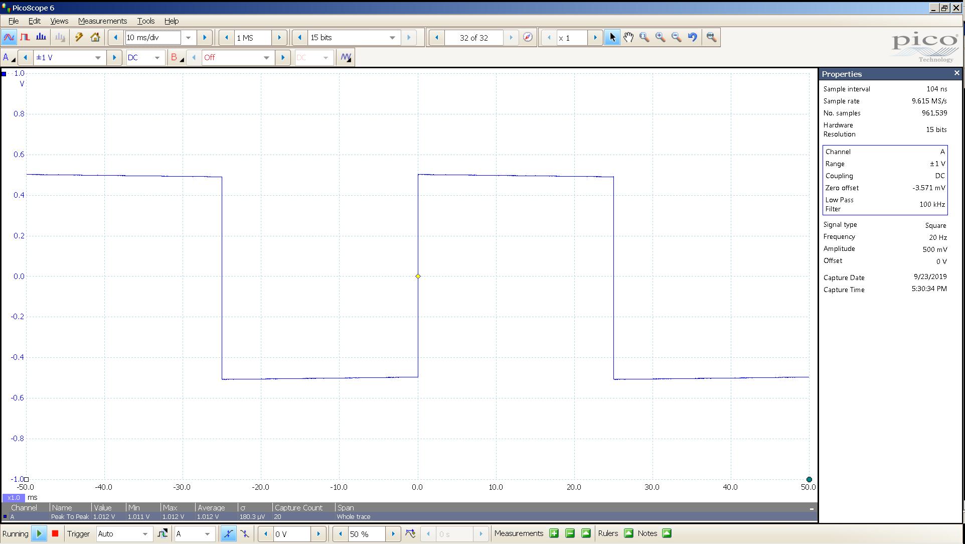 20190923 SigGen LiqGoldX 20 Hz square 1000mVpp 10mS div 100KHz filter 300R SE.png