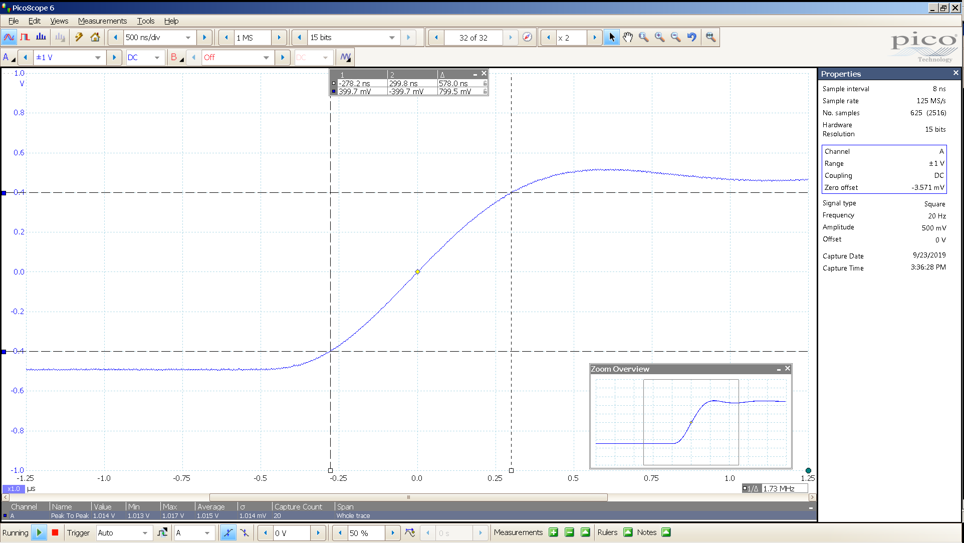 20190923 SigGen LiqGoldX 20 Hz square 1000mVpp 500nS div 20MHz filter 30R SE - BW calc.png