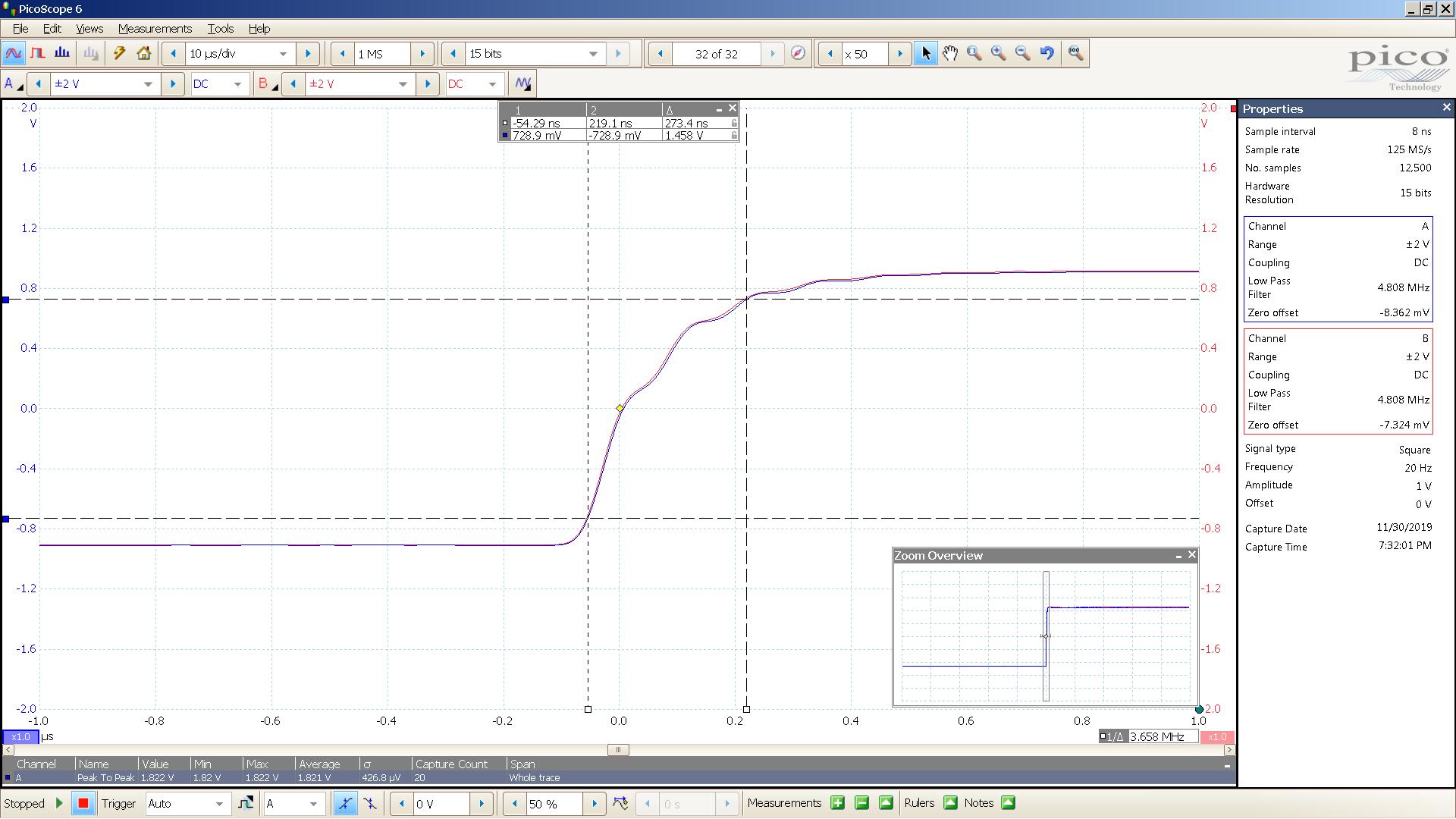 20190930 SigGen magni 3+ 20 Hz square 2000mVpp 200nS div 5MHz filter 300R - BW calc.png