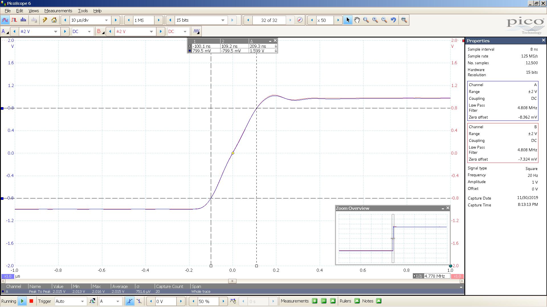 20190930 SigGen magni heresy 20 Hz square 2000mVpp 1uS div 5MHz filter 32R - BW calc.png
