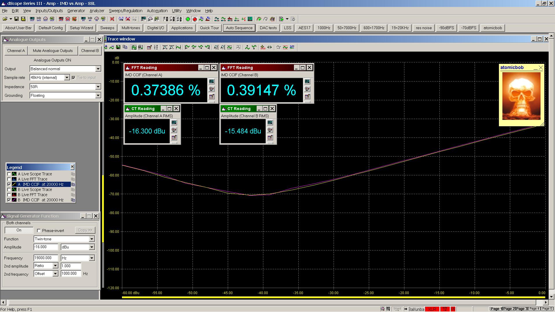 20191007 SW51+ 6Z51P 19+20KHz IMD vs Amplitude 30R LoZ 0dB gain.png
