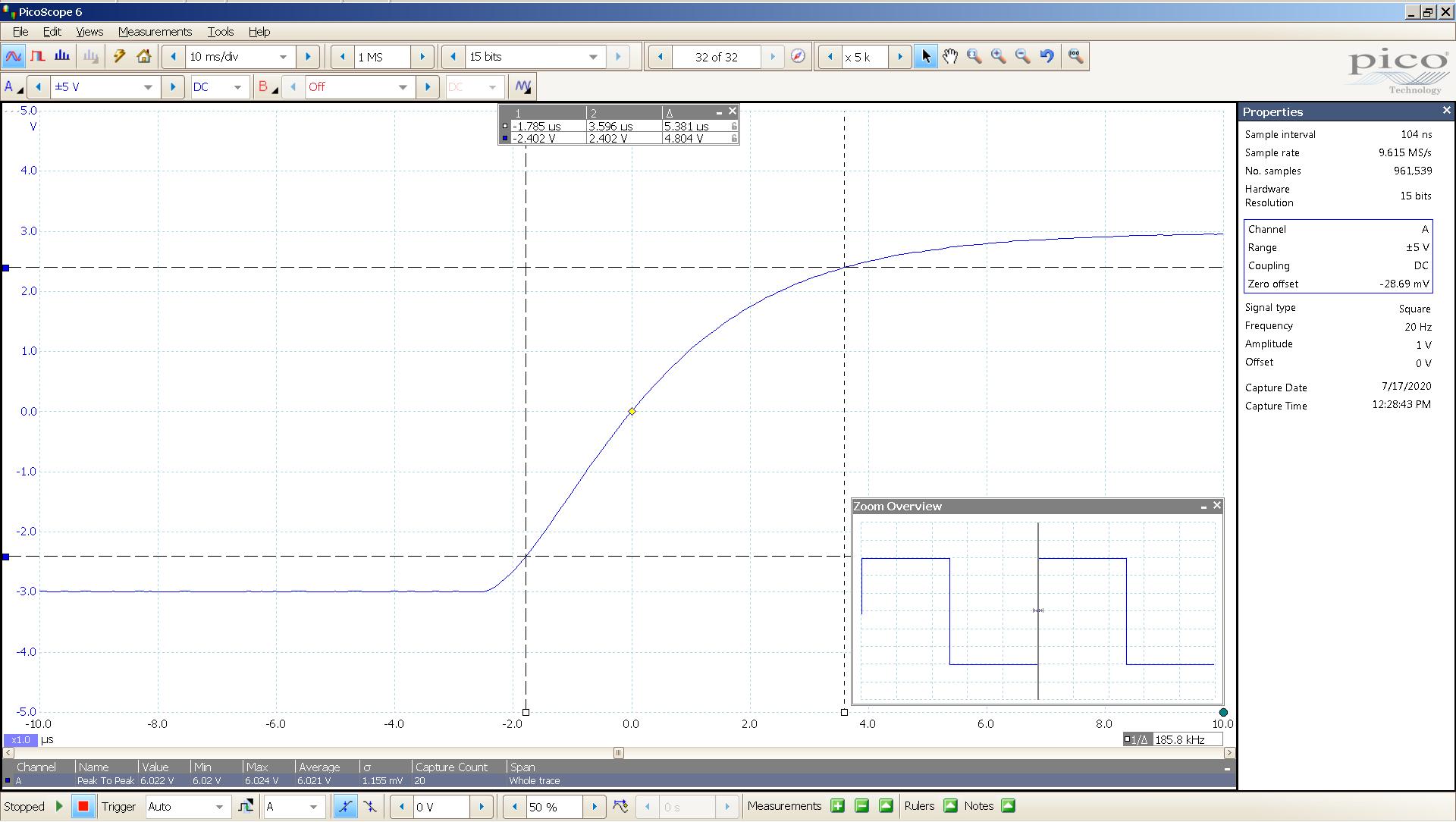20200717 SigGen morpheus 20 Hz square 2000mVpp 1uS div 5MHz filter AES SE BW calc.png