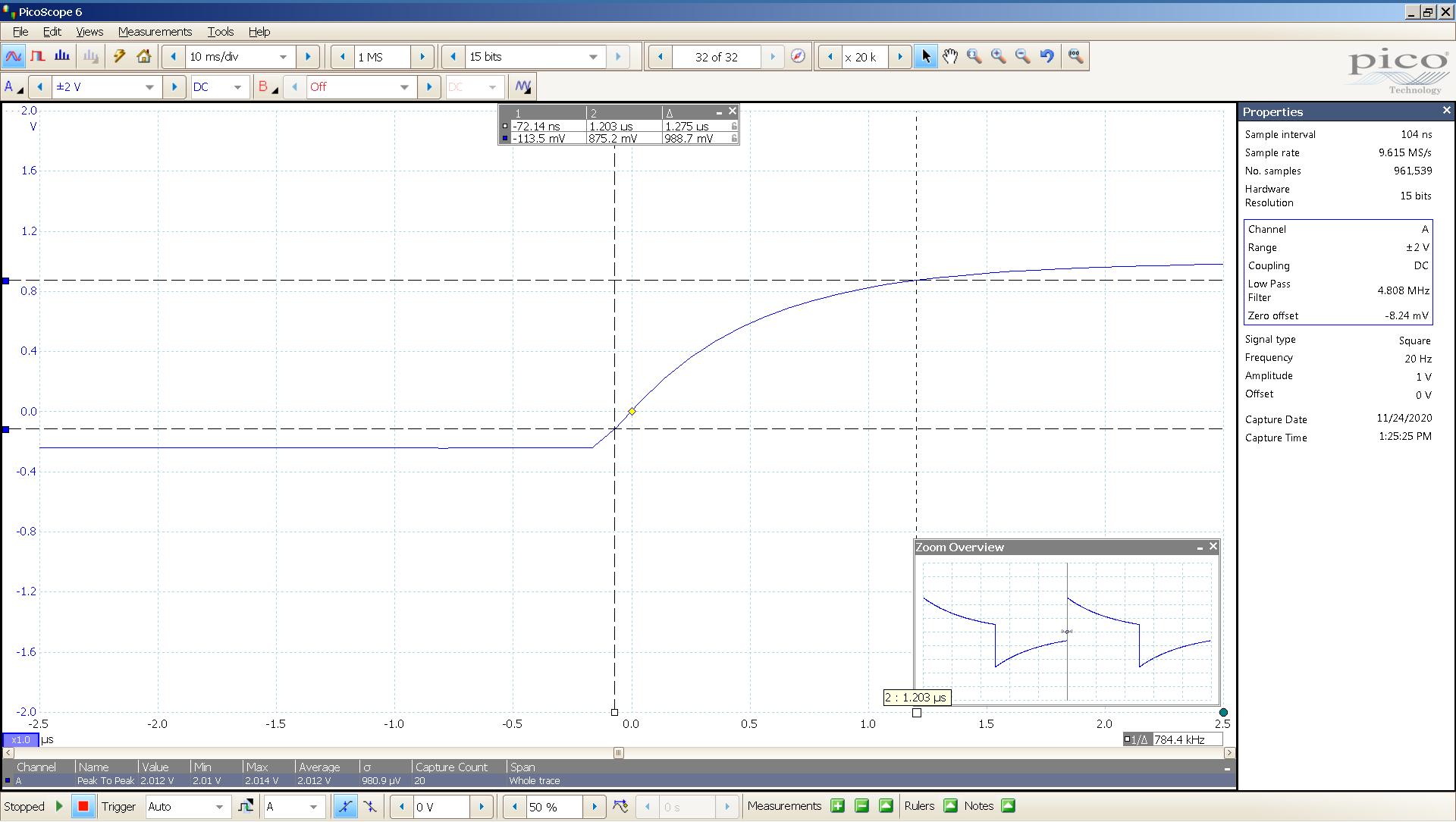 20201124 SigGen Vali2 6bz7 20 Hz square 2000mVpp 0_5uS div 5MHz filter 32R - BW calc.png