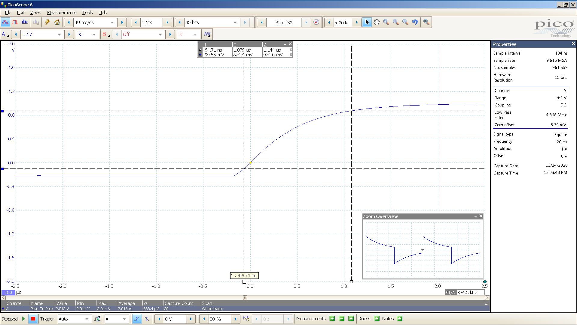 20201124 SigGen Vali2+ 6bz7a 20 Hz square 2000mVpp 0_5uS div 5MHz filter 32R - BW calc.png